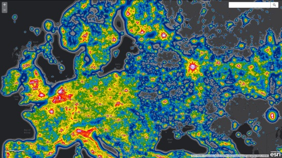 Europe Light pollution map